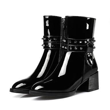 Mulheres Sapatos Couro Envernizado Inverno Outono Conforto Botas Caminhada Salto Robusto Dedo Apontado Tachas Ziper para Social Preto