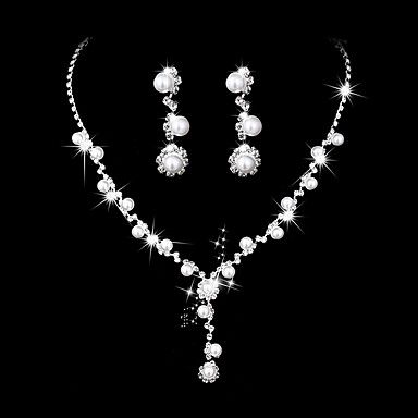 Mulheres Zircônia cúbica Gema Zircônia Cubica Conjunto de jóias - Elegant Fashion Flor Prata Brincos Compridos Gargantilhas Sets nupcial