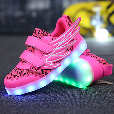 Girls' Shoes Breathable Mesh / Microfibre Spring Comfort / Novelty / Light Up Shoes Sneakers Track & Field Shoes LED for White / Fuchsia