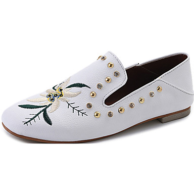 Women's Shoes PU Summer Comfort Flats Walking Shoes Low Heel Open Toe for Casual White Black