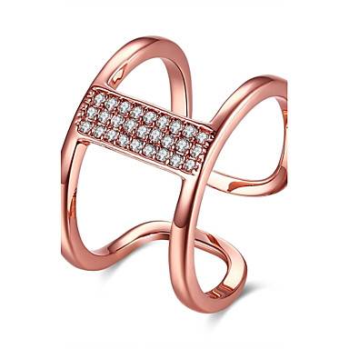 Women's Ring AAA Cubic Zirconia Silver Rose Gold Rose Gold Zircon Copper Silver Plated Geometric Line Irregular Personalized Luxury