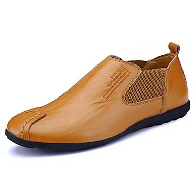 Homens sapatos Couro Ecológico Primavera Outono Solados com Luzes Conforto Mocassins e Slip-Ons para Festas & Noite Preto Amarelo
