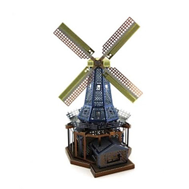 Toy Cars 3D Puzzles Jigsaw Puzzle Metal Puzzles Windmill Toys Windmill Architecture DIY Chrome Metal Not Specified Pieces