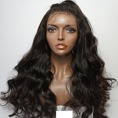 Human Hair Glueless Lace Front / Lace Front Wig Body Wave Wig 150% Natural Hairline / African American Wig / 100% Hand Tied Women's Short / Medium Length / Long Human Hair Lace Wig