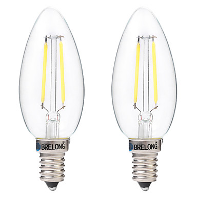 BRELONG® 2pcs 2W 200 lm E14 Lâmpadas de Filamento de LED C35 2 leds COB Decorativa Branco Quente Branco AC 220-240V