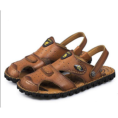 Men's Shoes Cowhide Spring Fall Comfort Sandals For Casual Light Brown Khaki