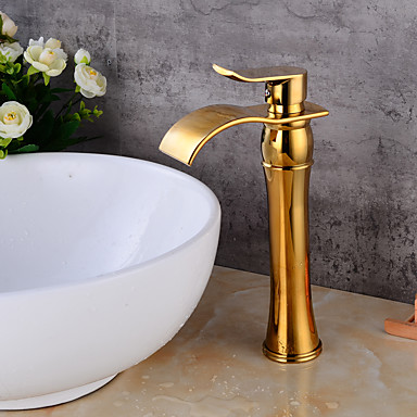 1279 Sprinkle® Sink Faucets - Contemporary Gold Waterfall One Hole