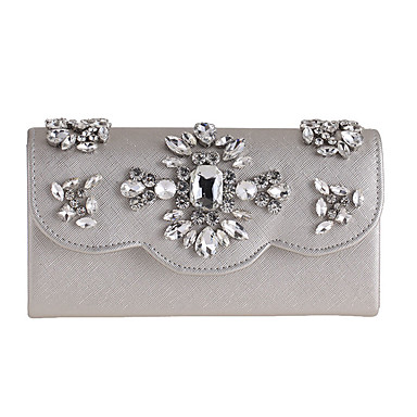 Women's Bags Polyester Evening Bag Rhinestone Floral Flower for Wedding Event/Party Casual Formal Office & Career All Seasons Gold Silver