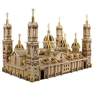 3D Puzzle / Jigsaw Puzzle / Model Building Kit Church / Plaza del Pilar DIY / Simulation Wooden Classic Kid's / Adults' Unisex Gift