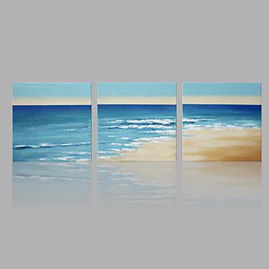 Pintados à mão Paisagem Panorâmico vertical, Abstracto Moderno/Contemporâneo Tela de pintura Pintura a Óleo Decoração para casa 3 Painéis