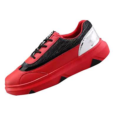 Homens sapatos Malha Respirável Courino Primavera Outono Solados com Luzes Tênis Cadarço para Casual Branco Preto Vermelho
