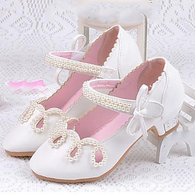 Para Meninas Sapatos Courino Verão / Outono Conforto / Sapatos para Daminhas de Honra Rasos Colchete para Dourado / Branco / Rosa claro
