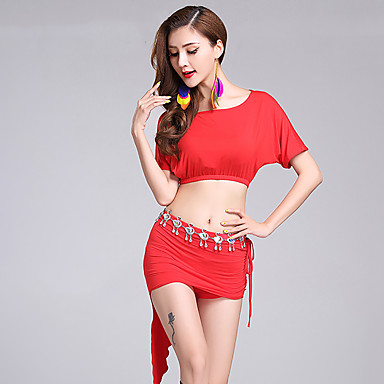 Belly Dance Outfits Women's Performance Modal Short Sleeve Natural Skirts Top