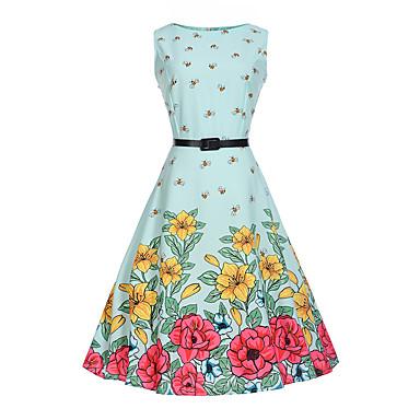 Χαμηλού Κόστους Φορέματα για κορίτσια-Παιδιά Κοριτσίστικα Λουλουδάτο Κινούμενα σχέδια Μοντέρνα Στάμπα Αμάνικο Βαμβάκι Μείγμα Πολυέστερα / Βαμβακιού Φόρεμα Μπλε Απαλό