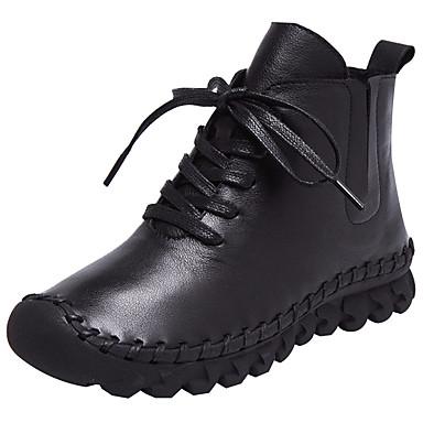 Mulheres Sapatos Pele Couro Pele Napa Inverno Primavera Conforto Solados com Luzes Rasos Salto Baixo Ponta Redonda Cadarço para Casual Ao