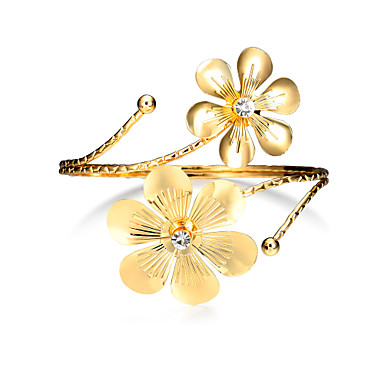 Women's Hollow Cuff Bracelet / Wide Bangle - Flower Punk, Fashion Bracelet Gold For Christmas Gifts / Birthday / Gift