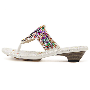 Women's Slippers & Flip-Flops Comfort Spring PU Casual White Black 1in-1 3/4in