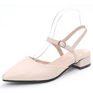Mulheres Sapatos Borracha Verão Conforto Sandálias Salto Baixo Dedo Apontado Presilha para Ao ar livre Preto Amêndoa