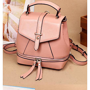 Women's Bags Cowhide Backpack for Casual All Seasons Black Red Blushing Pink