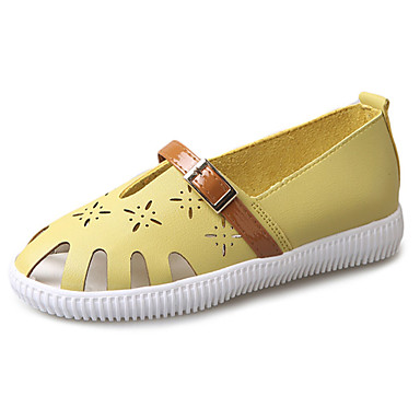 Women's Shoes PU Summer Light Soles Comfort Flats Walking Shoes Flat Heel Round Toe for Casual Dress White Black Yellow