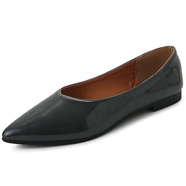 Women's Shoes PU Summer Light Soles Flats Walking Shoes Flat Heel Round Toe for Casual Black Dark Green