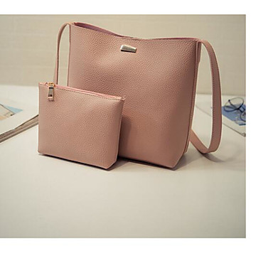 Women's Bags PU Tote 2 Pieces Purse Set for Casual Outdoor All Seasons Black Blushing Pink Brown