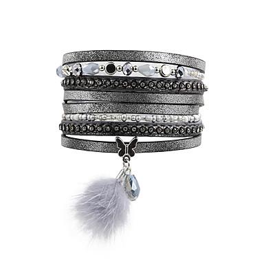 abordables Bracelet-Bracelets Plusieurs Tours Bracelets en cuir Bracelets de mémoire Femme Perles Cristal Cuir Strass Imitation Diamant Goutte Papillon Animal Luxe Bracelet Bijoux Gris pour Regalos de Navidad Mariage