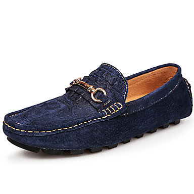 Unisex Shoes Suede Summer Fall Moccasin Loafers & Slip-Ons for Casual Party & Evening Black Dark Blue Gray