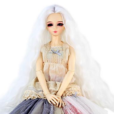 Cabelo Sintético perucas Crespo Cacheado boneca peruca Branco
