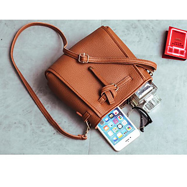 Women Shoulder Bag PU Polyester All Seasons Casual Outdoor Round Zipper Red Gray Brown