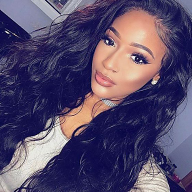 Human Hair Glueless Lace Front / Lace Front Wig Natural Wave Wig 150% Natural Hairline / African American Wig / 100% Hand Tied Women's Short / Medium Length / Long Human Hair Lace Wig