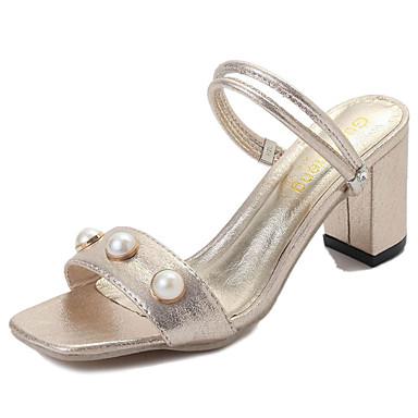 Mulheres Sapatos Couro Ecológico Verão Sandálias Caminhada Salto Baixo Ponta quadrada Miçangas para Dourado Preto Prata