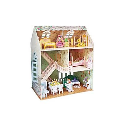 3D építőjátékok Fejtörő Babaház Papírmodell Népszerű épület Fa Gyermek Lány Ajándék