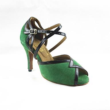 Mulheres Sapatos de Dança Latina Flocagem Sandália Cruzado Salto Agulha Personalizável Sapatos de Dança Verde / Preto / Espetáculo