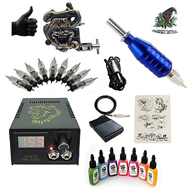 Tattoo Machine Starter Kit 1 alloy machine liner & shader LCD power supply 1 x aluminum grip 5 pcs Tattoo Needles