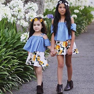 baratos Conjuntos para Meninas-Bébé Para Meninas Floral Roupas de Festa Floral Moderno Estampado Manga Curta Padrão Padrão Algodão Conjunto Azul
