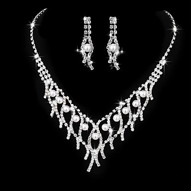 Mulheres Zircônia cúbica Gema Zircônia Cubica Coração Conjunto de jóias - Vintage Elegant Coração Prata Brincos Compridos Gargantilhas