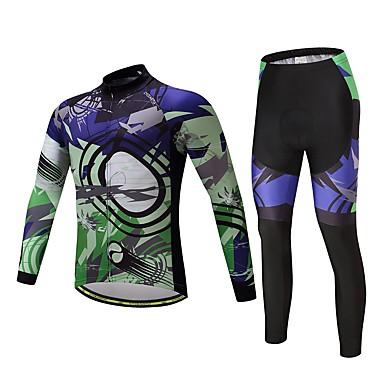Langarm Fahrradtrikots mit Fahrradhosen Fahhrad Kleidungs-Sets, warm halten Polyester Vlies Lycra Silikon