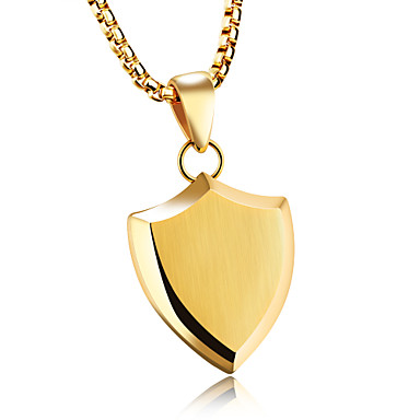 Men's Pendant Necklace - Titanium Steel Statement Gold, White, Black Necklace For Party, Birthday, Party / Evening
