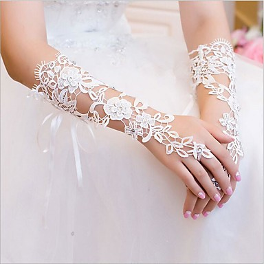 Lace Elbow Length Glove Bridal Gloves With Rhinestone / Appliques / Floral