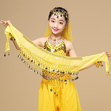 Belly Dance Hip Scarves Girls' Performance Chiffon Sequin Hip Scarf