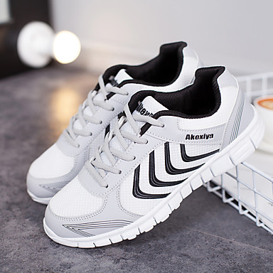 Men's Light Soles Tulle Spring / Summer Athletic Shoes Running Shoes / Tennis Shoes White / Dark Grey / Light Grey
