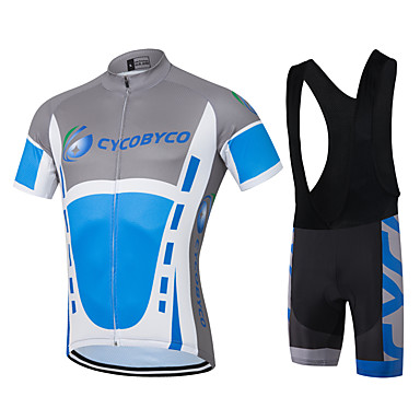Men's Short Sleeve Cycling Jersey with Bib Shorts - Blue / White Bike Shorts / Jersey, Quick Dry, Reflective Strips, Sweat-wicking Polyester, Coolmax®, Silicon Solid Color / Stretchy / Lycra
