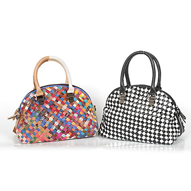 Women's Bags Cowhide Tote Split Joint Braided Strap for Casual All Seasons Rainbow Black/White