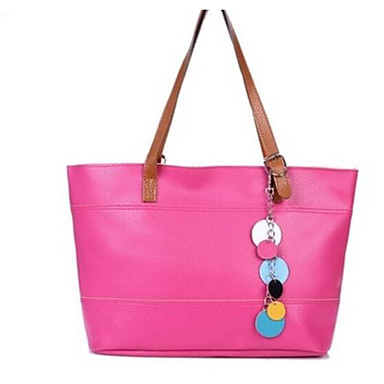 Women Bags All Seasons PU Shoulder Bag for Casual Outdoor Black Yellow Fuchsia