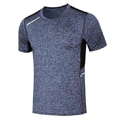 Herre T-skjorte til jogging Kortermet Fukt Wicking Fort Tørring Pustende Svettereduserende Genser Topper til Løper Trening & Fitness