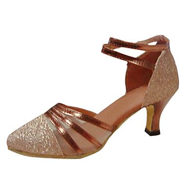 Mulheres Sapatos de Dança Latina Seda Sandália Cruzado Salto Agulha Personalizável Sapatos de Dança Dourado / Espetáculo / Couro