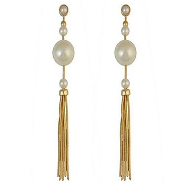 Women's Drop Earrings Imitation Pearl Personalized Tassel Sexy Oversized Fashion Alloy Line Jewelry For Party Valentine Date Holiday