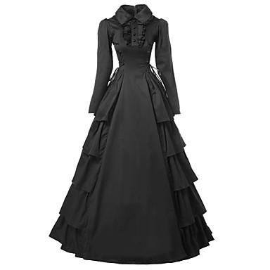 Kostymer i middelalderstil Victoriansk Kostume Dame Kjoler Maskerade Party-kostyme Svart Vintage Cosplay Bomull Satin Langermet Lang