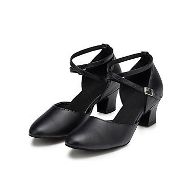 Női Modern cipők Szintetikus Magassarkúk Cakkos Vaskosabb sarok Személyre szabható Dance Shoes Fekete / Professzionális